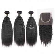 Uglam Hair Bundles With 4x4 Lace Closure Mongolian Kinky Straight Sexy Formula