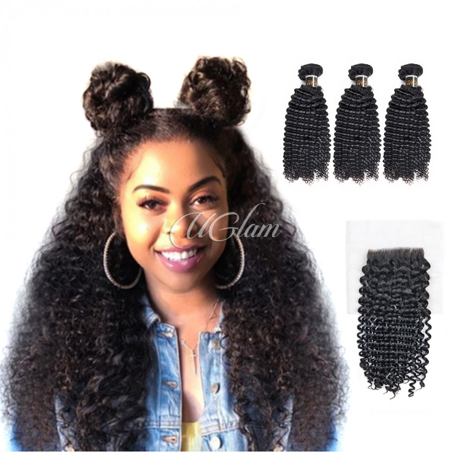 Uglam Virgin Hair Bundles With 4x4 Lace Closure Mongolian Kinky Curly Sexy Formula
