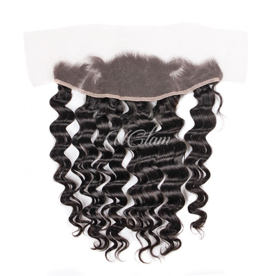 Uglam Hair Bundles With 4x13 Lace Frontal Closure Indian Loose Wave