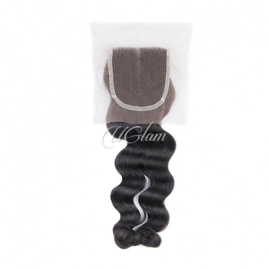 Uglam Bundles With 4x4 Lace Closure Loose Wave Virgin Hair