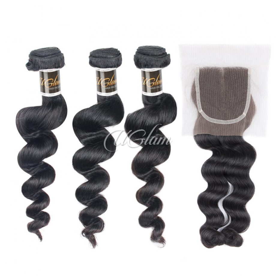 Uglam Hair Bundles With 4x4 Lace Closure Brazilian Loose Wave