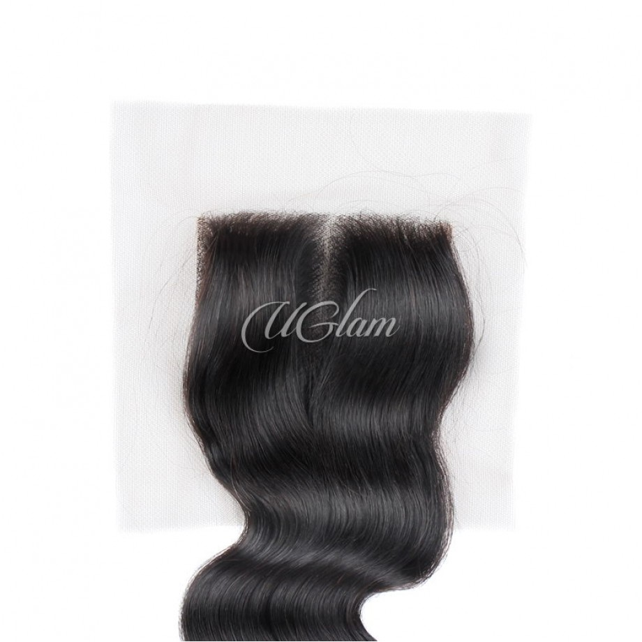 Uglam Hair Bundles With 4x4 Lace Closure Indian Loose Wave