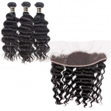 Uglam 13x4 Lace Front Closure With Bundles Peruvian Nature Wave Sexy Formula