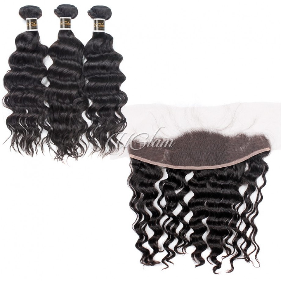 Uglam Hair 4x13 Lace Front Closure With Bundles Indian Nature Wave Sexy Formula