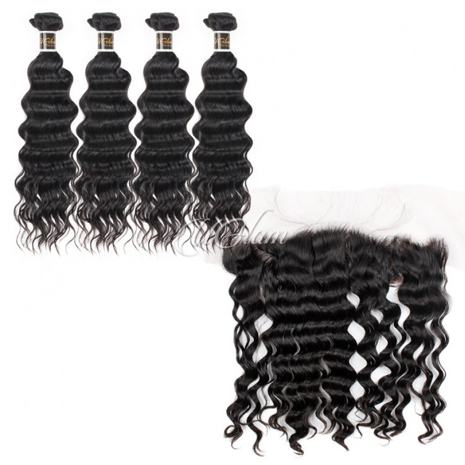 Uglam 13x4 Lace Front Closure With Bundles Malaysian Nature Wave Sexy Formula