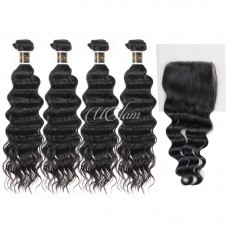 Uglam Hair 4x4 Lace Closure With Bundles Indian Nature Wave Sexy Formula