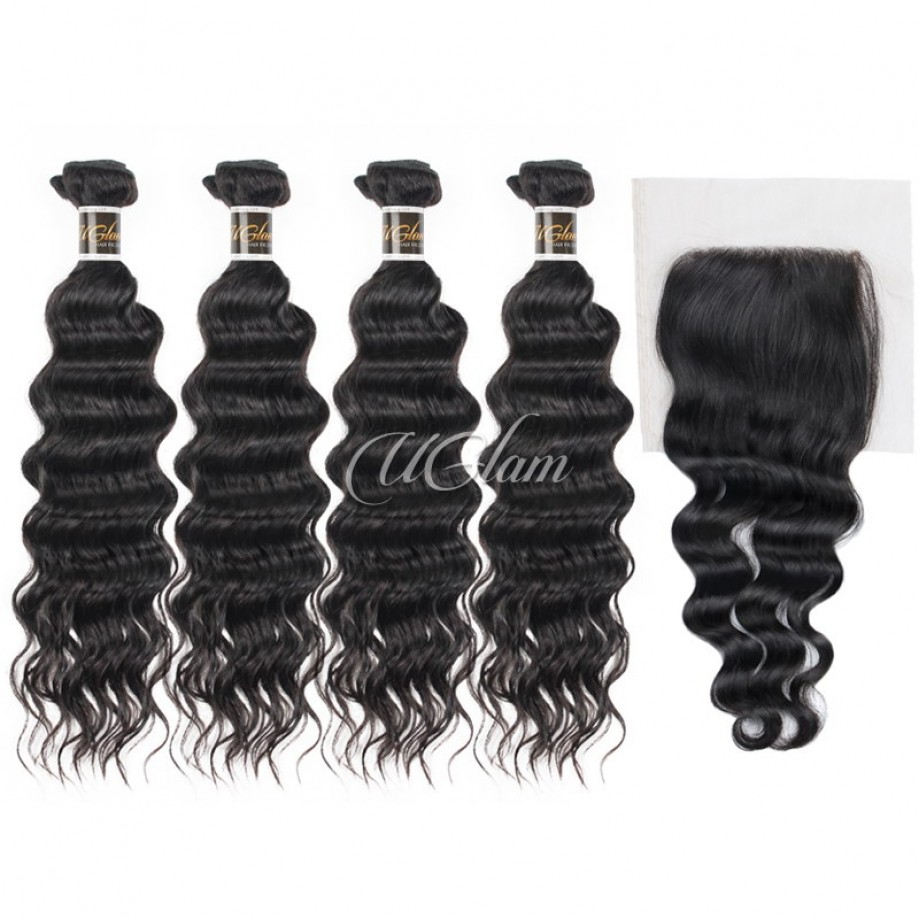 Uglam 4x4 Lace Closure With Bundles Indian Nature Wave Sexy Formula