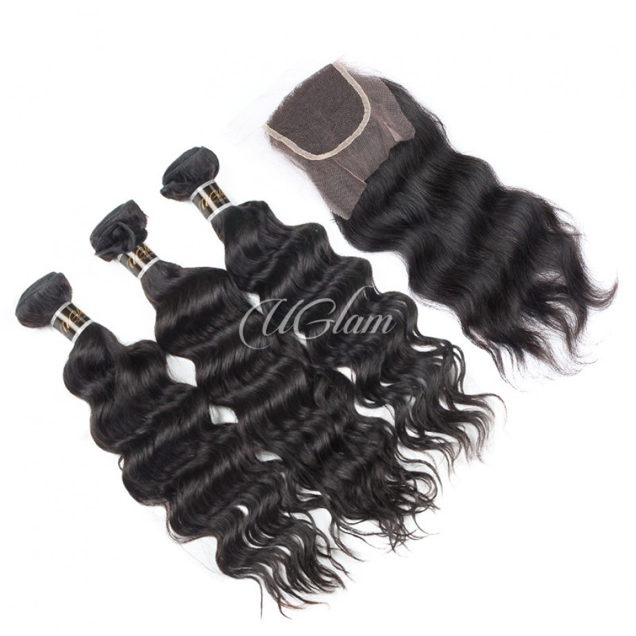 Uglam Hair 4x4 Lace Closure With Bundles Malaysian Nature Wave Sexy Formula
