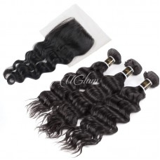 Uglam Hair 4x4 Lace Closure With Bundles Peruvian Nature Wave Sexy Formula