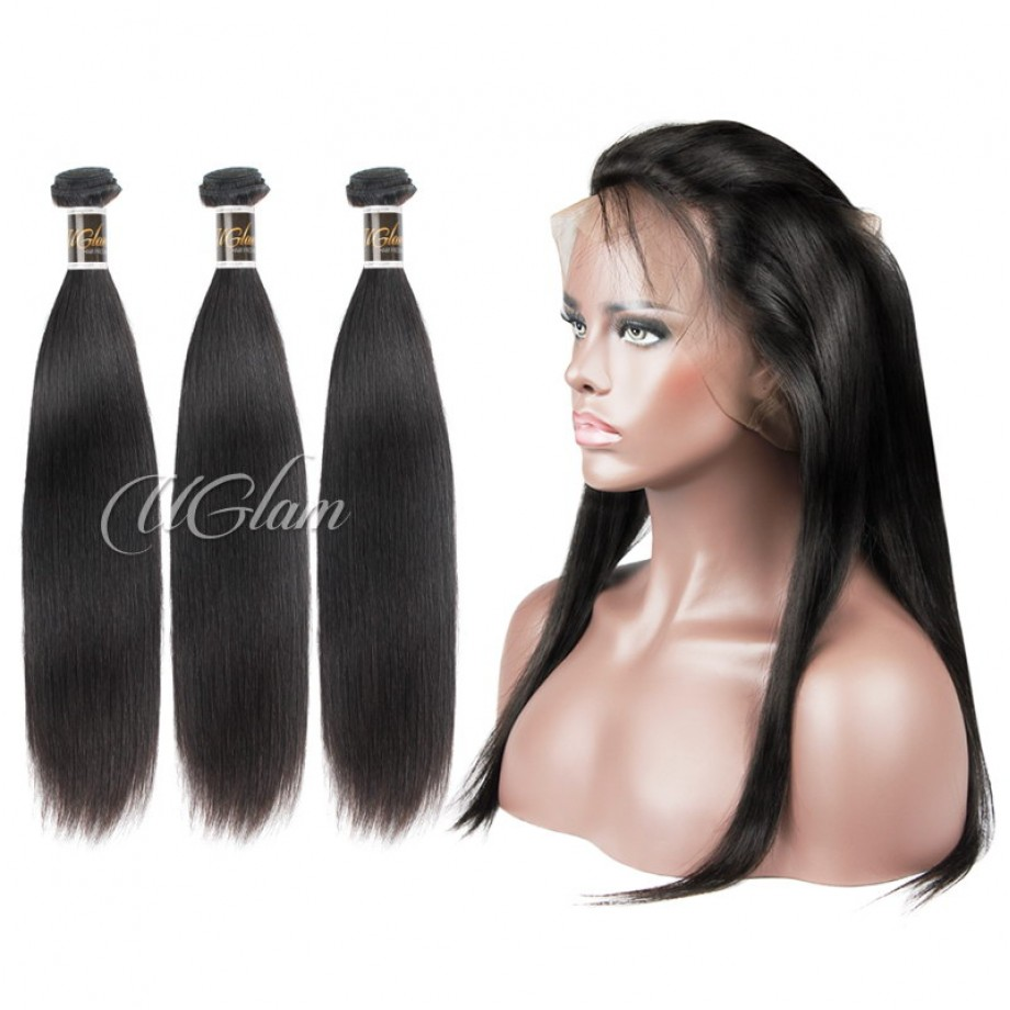 Uglam Hair Bundles With 360 Lace Frontal Closure Malaysian Straight