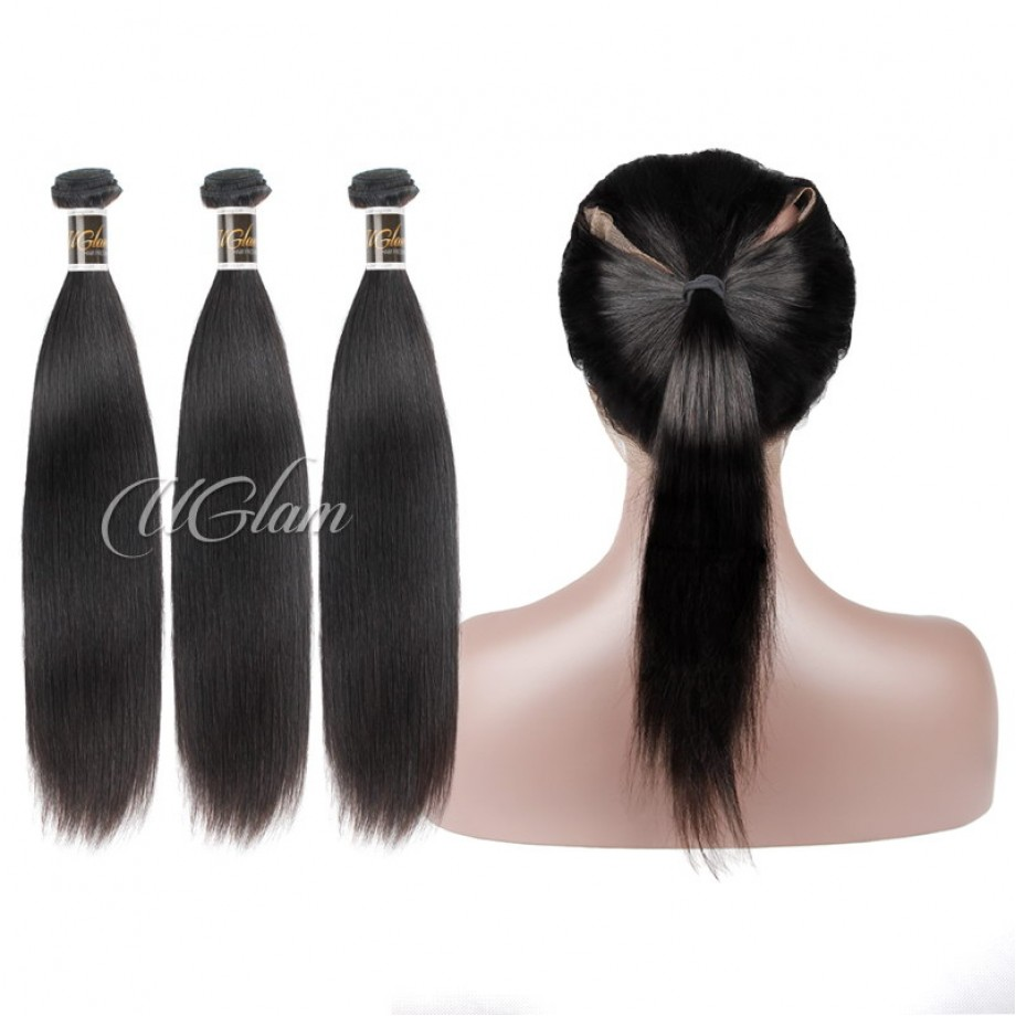 Uglam Hair Bundles With 360 Lace Frontal Closure Peruvian Straight