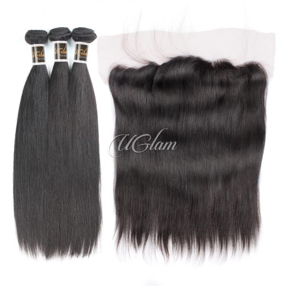 Uglam Hair Bundles With 4x13 Lace Frontal Closure Indian Straight