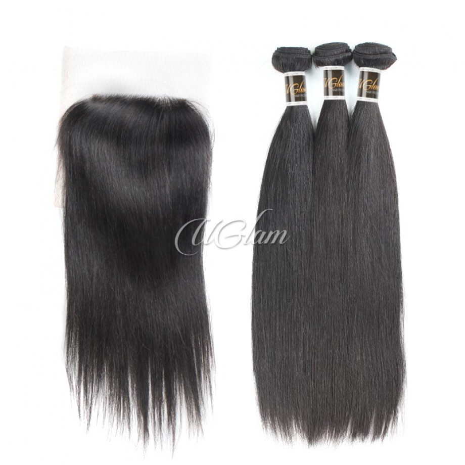 Uglam Hair Bundles With 4x4 Lace Closure Indian Straight