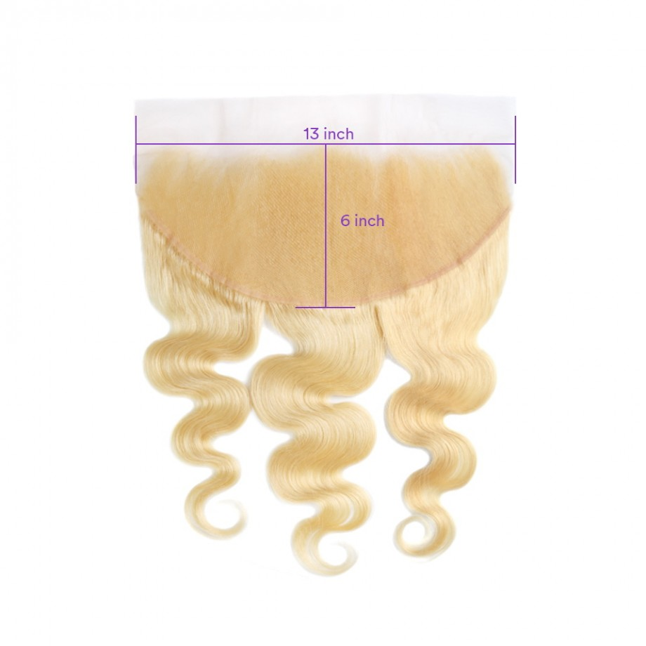 Uglam Hair 13x6 Swiss Lace Frontal Closure Blonde #613 Color Body Wave