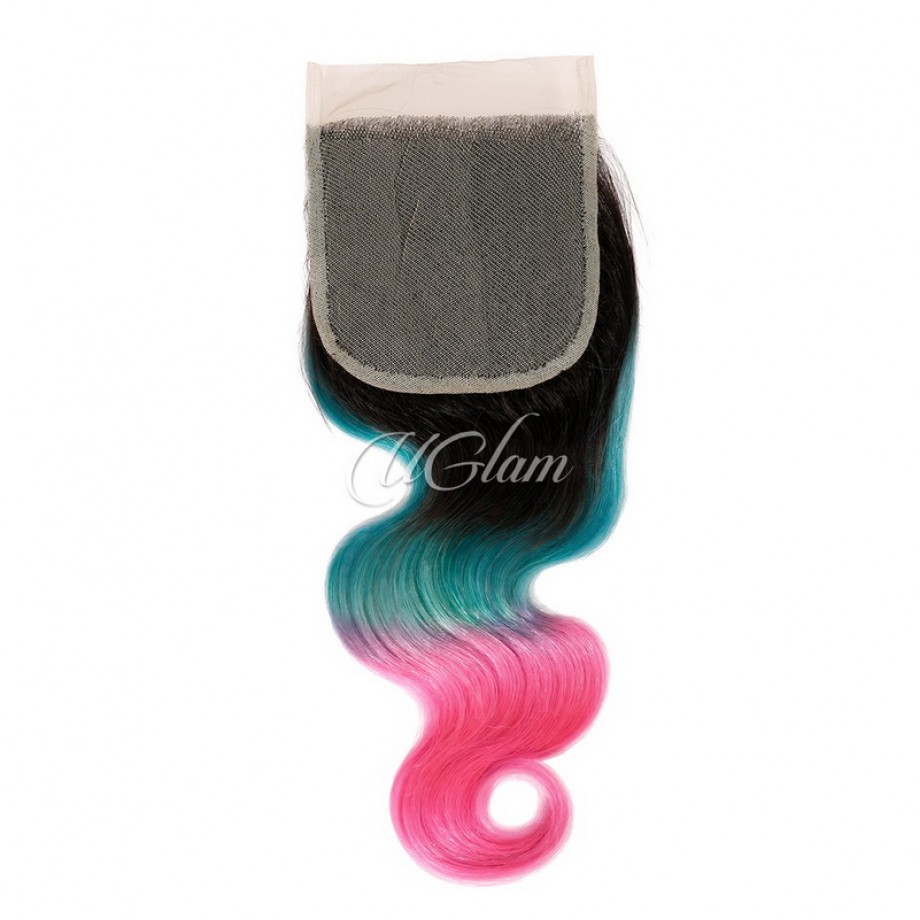 Uglam Hair 4x4 Swiss Lace Closure Ombre Blue Coral and Baby Pink Color Body Wave