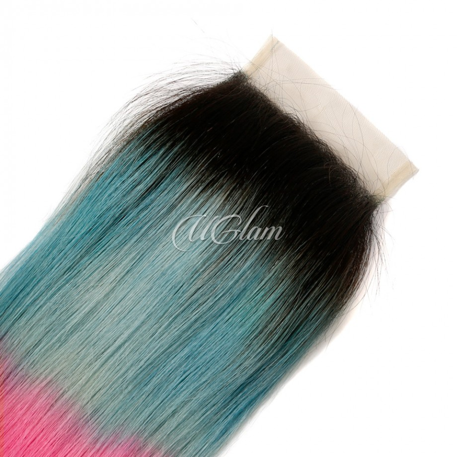 Uglam Hair 4x4 Swiss Lace Closure Ombre Blue Coral and Baby Pink Color Straight