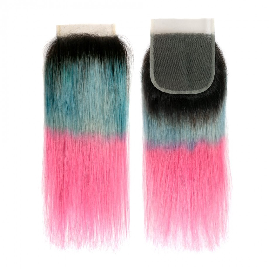 Uglam 4x4 Swiss Lace Closure Ombre Blue Coral and Baby Pink Color Straight