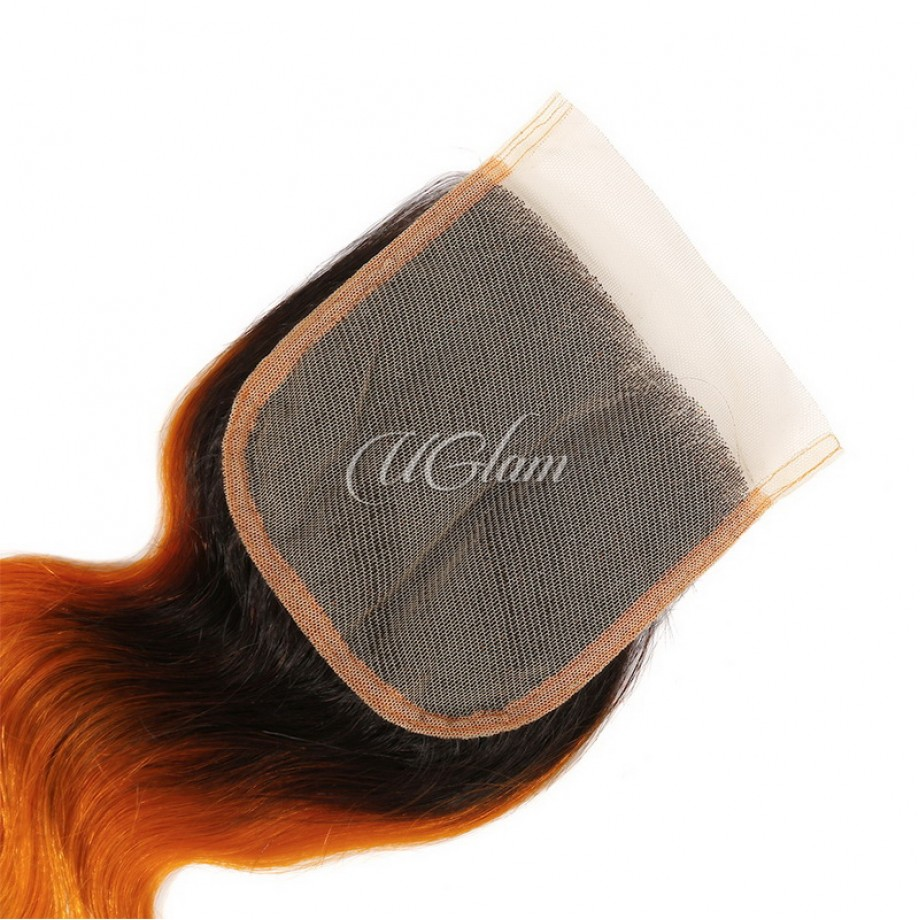 Uglam Hair 4x4 Swiss Lace Closure Ombre Orange And Azure Blue Color Body Wave