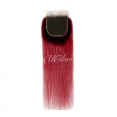Uglam Hair 4x4 Swiss Lace Closure Black Root And Red Color Straight