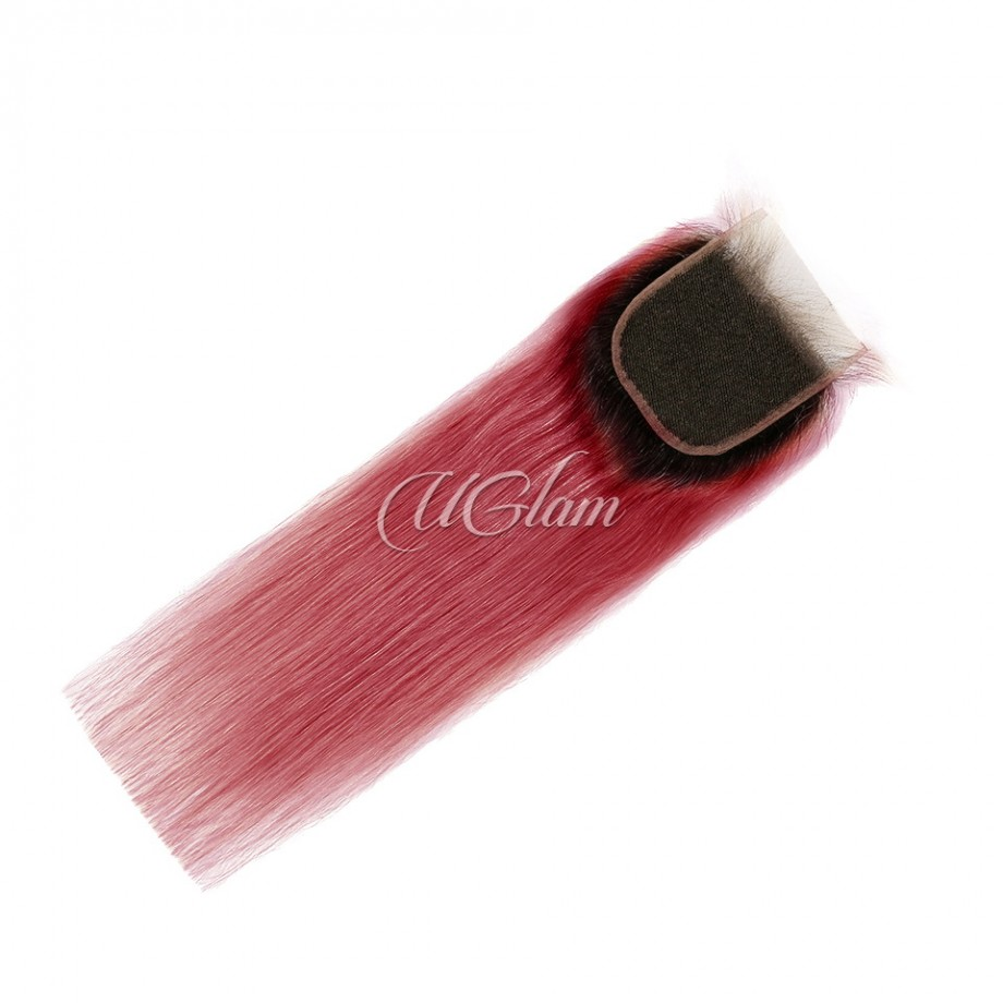 Uglam 4x4 Swiss Lace Closure Black Root And Red Color Straight