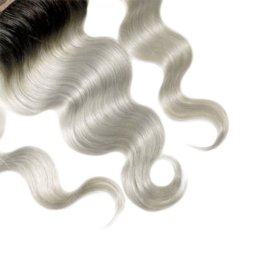 Uglam 13x4 Swiss Lace Frontal Closure 1B/Grey Color Body Wave