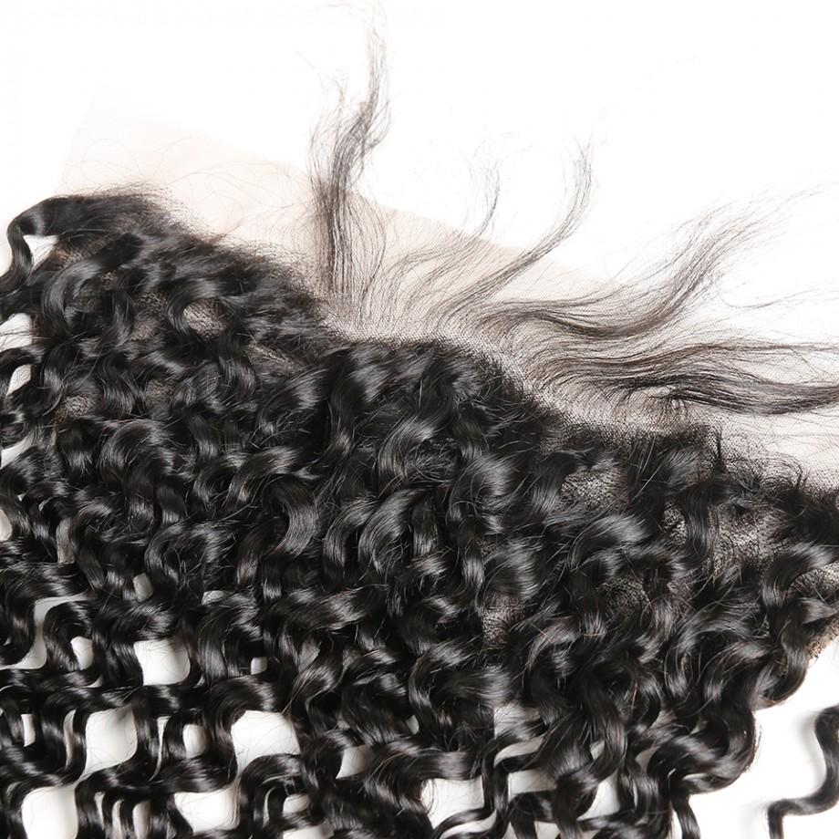 Uglam 13X4 Water Wave HD/Transparent/Medium Brown Lace Frontal Virgin Hair