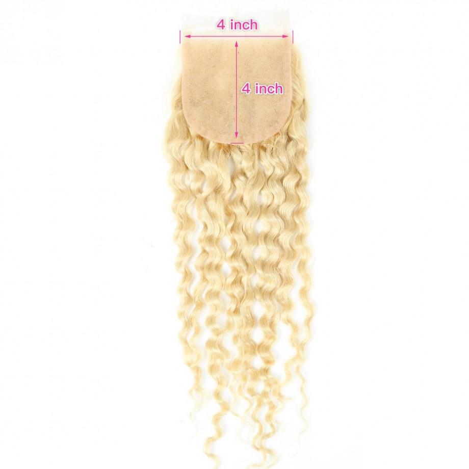 Uglam 4X4 Lace Closure Blonde #613 Color Deep Wave
