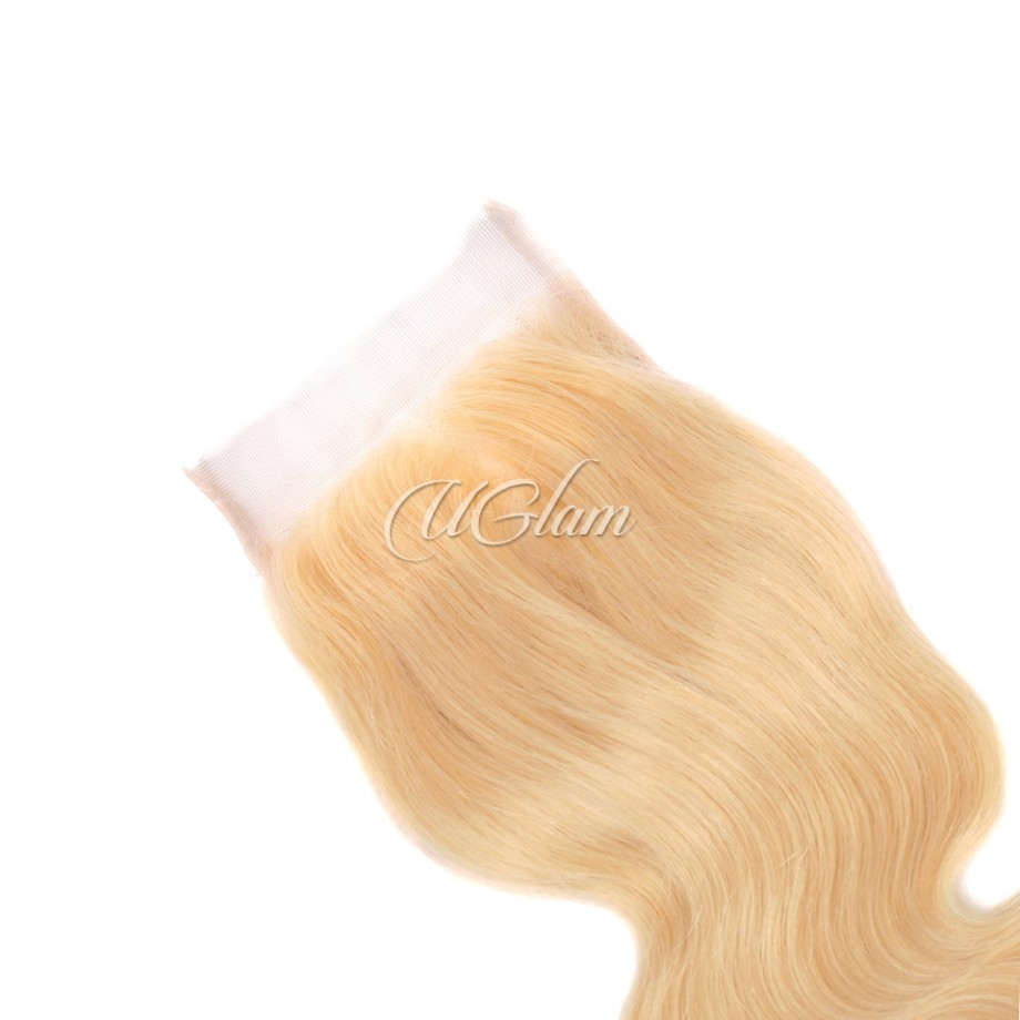 Uglam Hair 5x5 Swiss Lace Closure Blonde #613 Color Body Wave