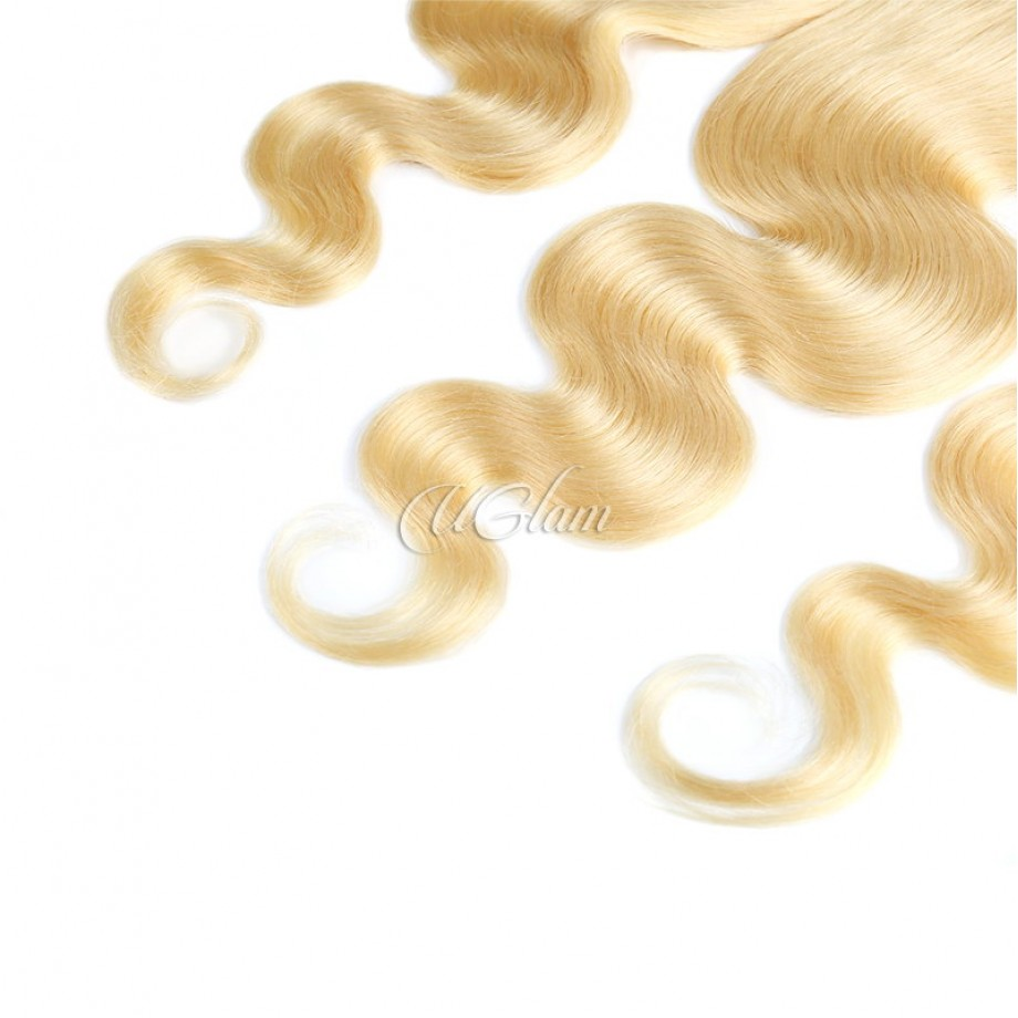 Uglam 13x4 Swiss Lace Frontal Closure Blonde #613 Color Body Wave
