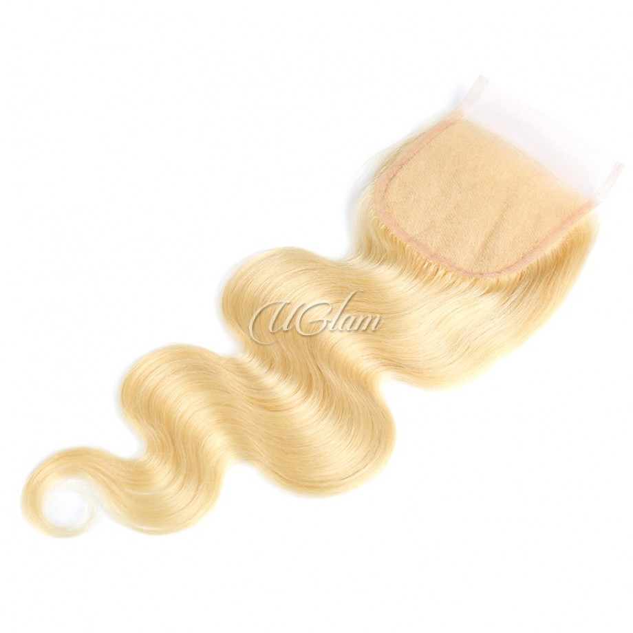 Uglam 4x4 Swiss Lace Closure Blonde #613 Color Body Wave