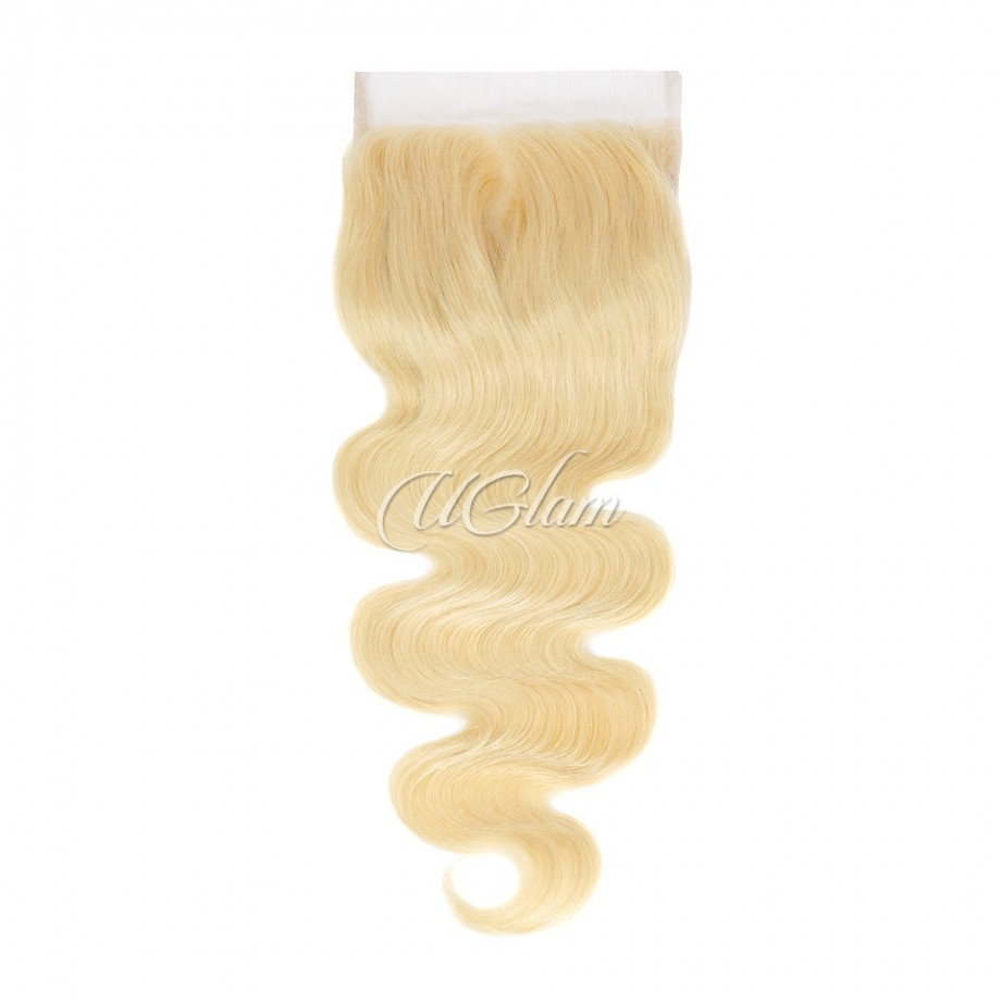 Uglam Hair 6x6 Swiss Lace Closure Blonde #613 Color Body Wave