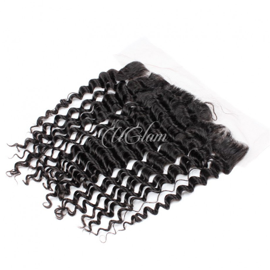 Uglam Hair 4x13 Swiss Lace Frontal Closure Brazilian Deep Wave