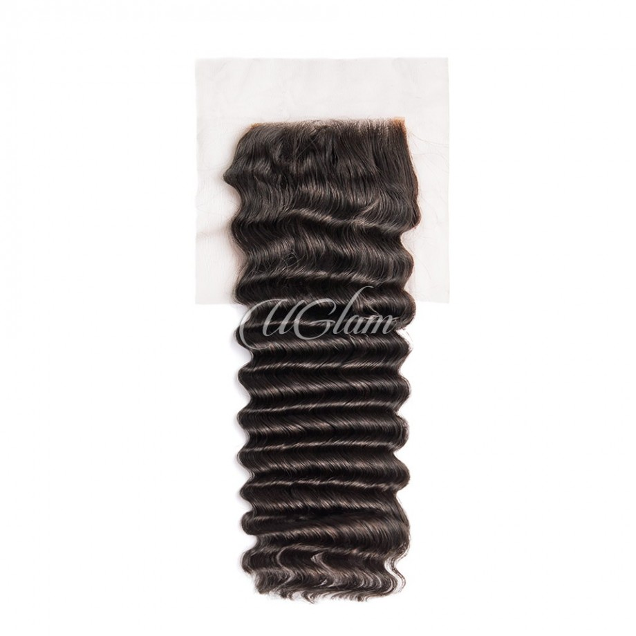Uglam Hair 4x4 Swiss Lace Closure Indian Deep Wave