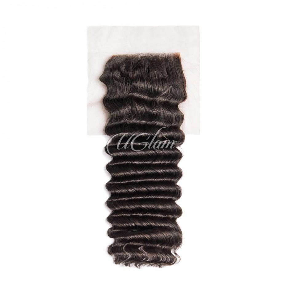 Uglam Hair 4x4 Swiss Lace Closure Peruvian Deep Wave