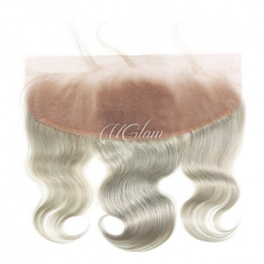 Uglam Hair 4x13 Swiss Lace Frontal Closure Green Grey Color Body Wave
