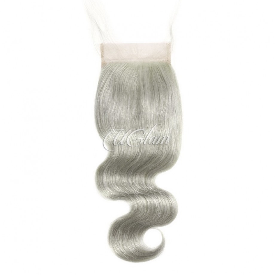 Uglam Hair 4x4 Swiss Lace Closure Green Grey Color Body Wave