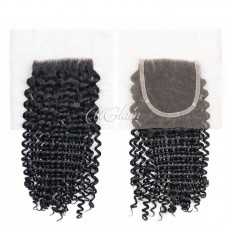 Uglam Hair 4x4 Swiss Lace Closure Mongolian Kinky Curly