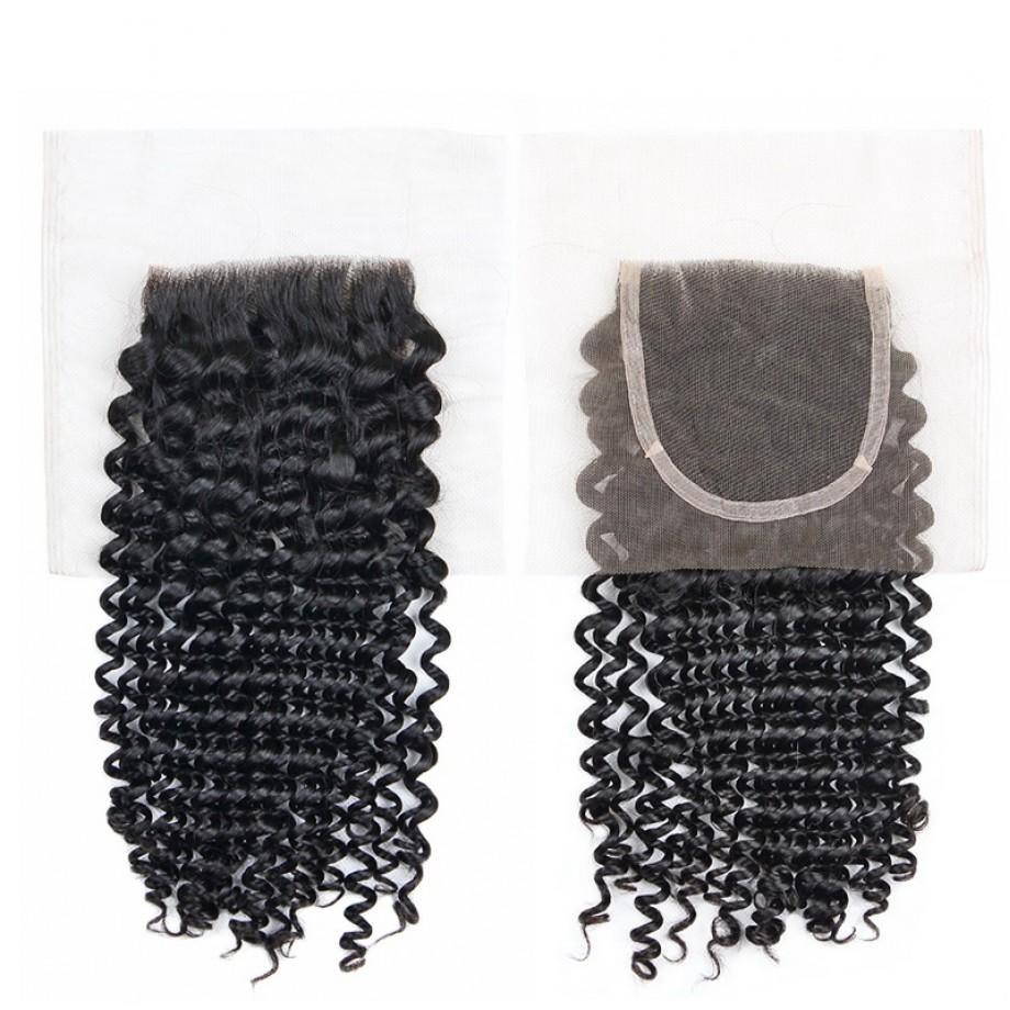 Uglam 4x4 Swiss Lace Closure Kinky Curly