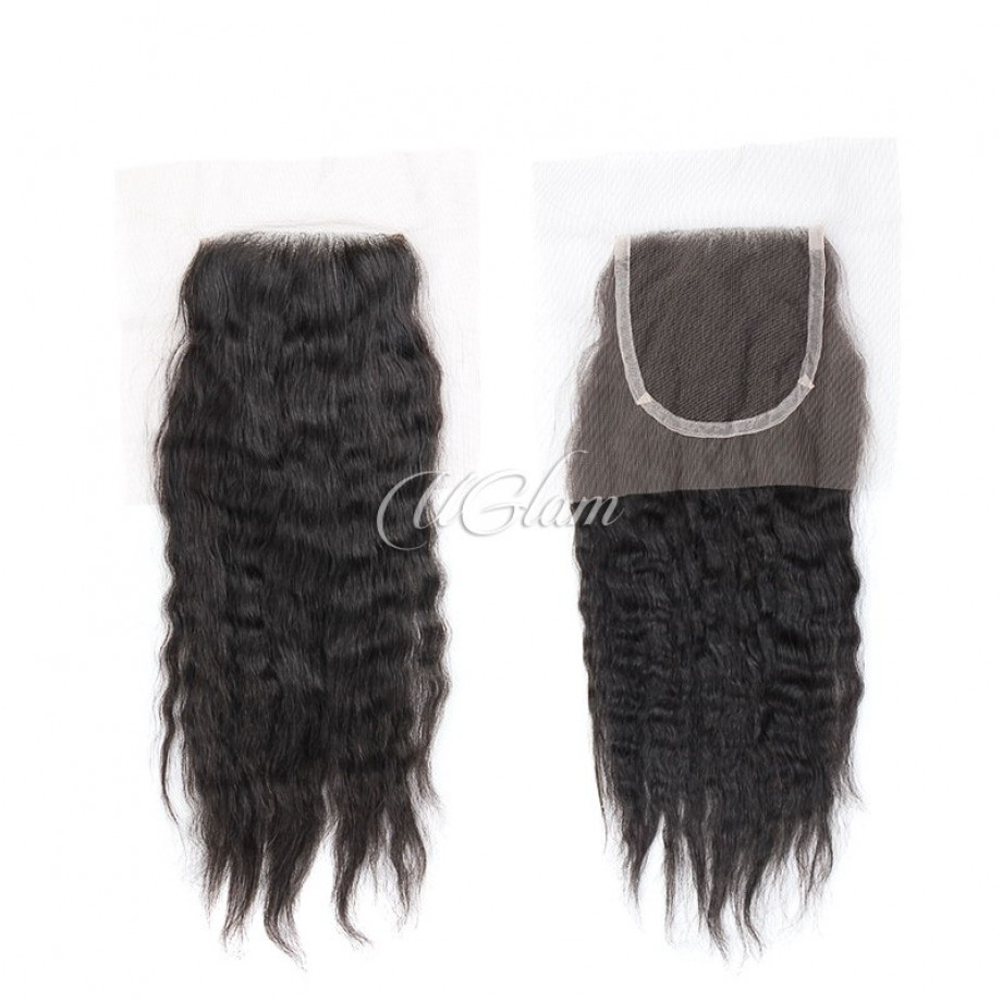 Uglam Hair 4x4 Swiss Lace Closure Mongolian Kinky Straight