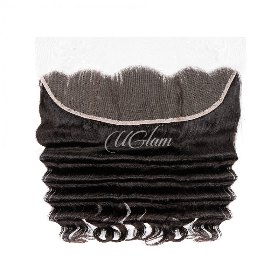 Uglam Hair 13x4 Swiss Lace Frontal Closure Peruvian Loose Deep