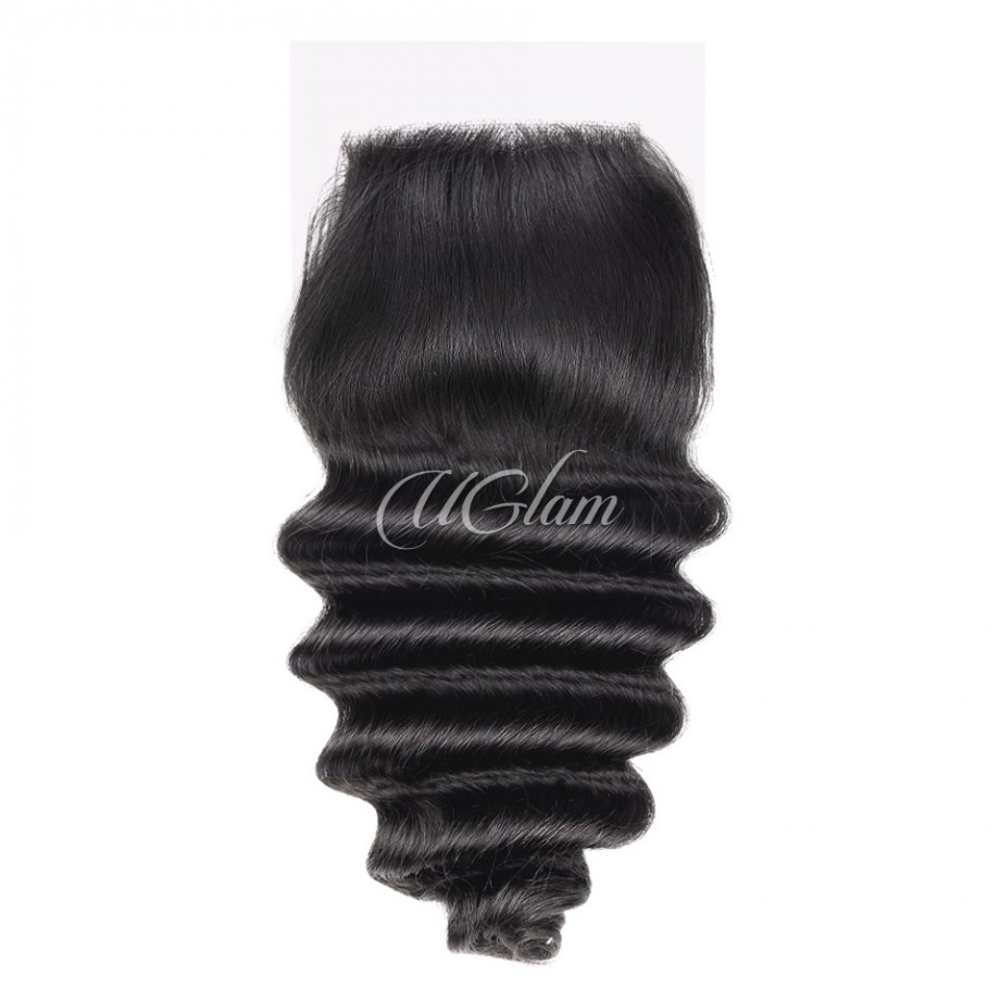 Uglam Hair 4x4 Swiss Lace Closure Peruvian Loose Deep
