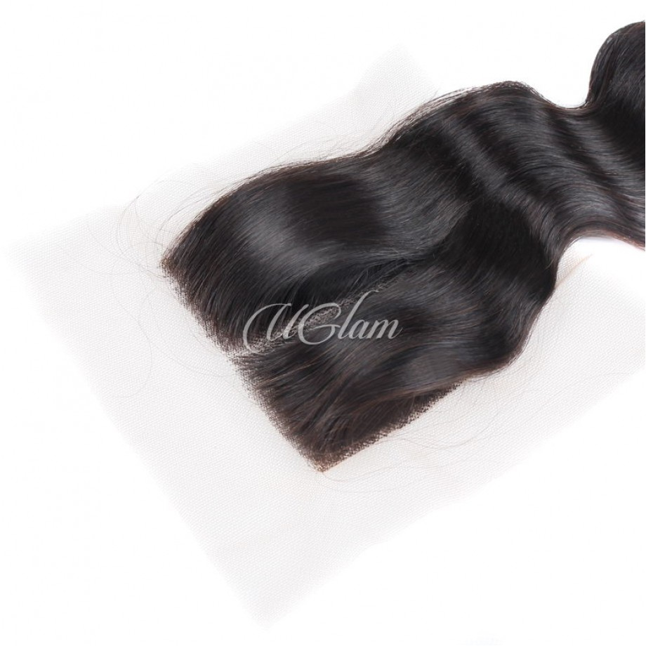 Uglam Hair 4x4 Swiss Lace Closure Indian Loose Wave