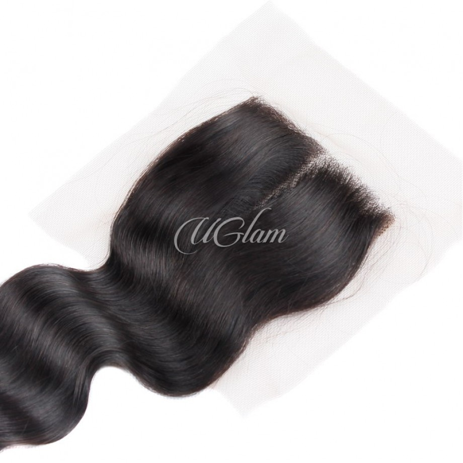 Uglam Hair 4x4 Swiss Lace Closure Peruvian Loose Wave