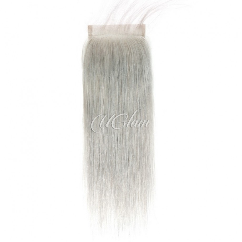 Uglam Hair 4x4 Swiss Lace Closure Silver Grey Color Straight