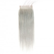 Uglam 4x4 Swiss Lace Closure Silver Grey Color Straight