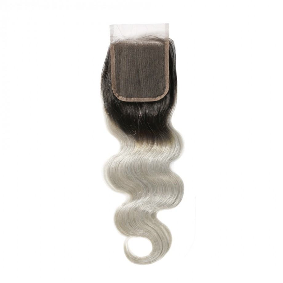 Uglam 4x4 Swiss Lace Closure 1B/Grey Color Body Wave