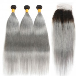 Uglam 4x4 Lace Closure With Bundles 1B/Gray Color Body Wave/Straight