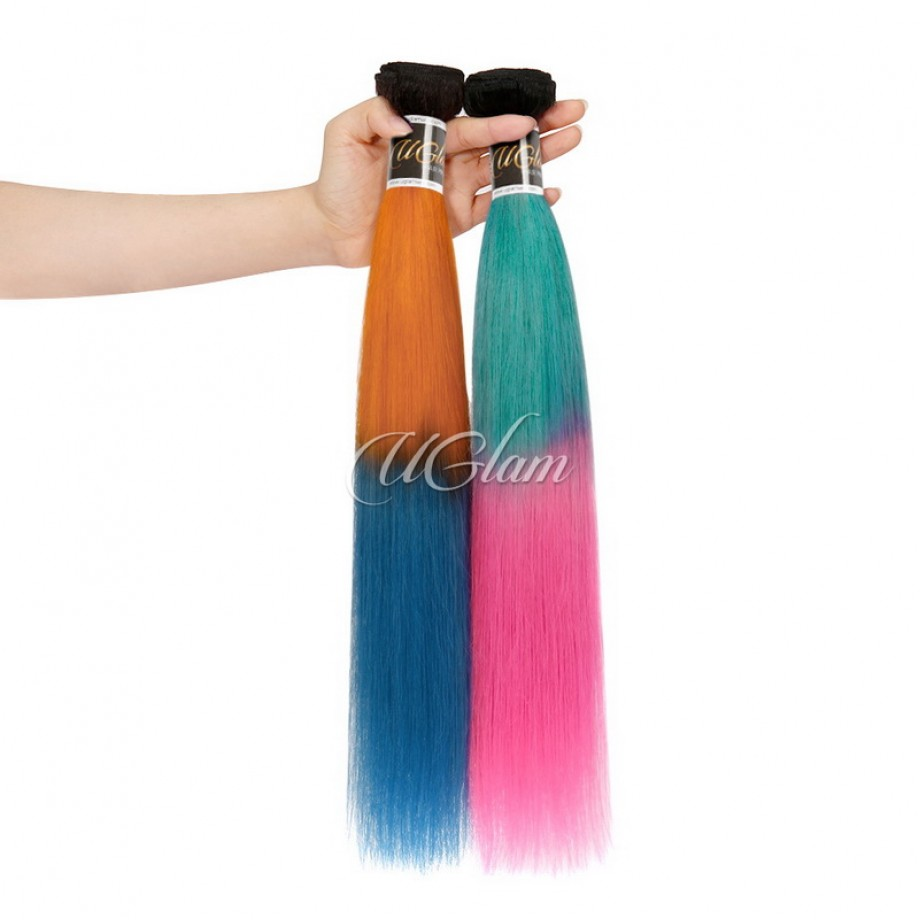 Uglam Hair Ombre Blue Coral and Baby Pink Color Straight Bundles Deal