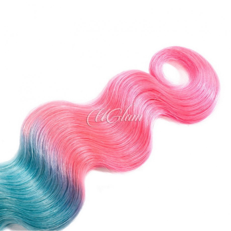 Uglam Hair Ombre Blue Coral and Baby Pink Color Body Wave Bundles Deal