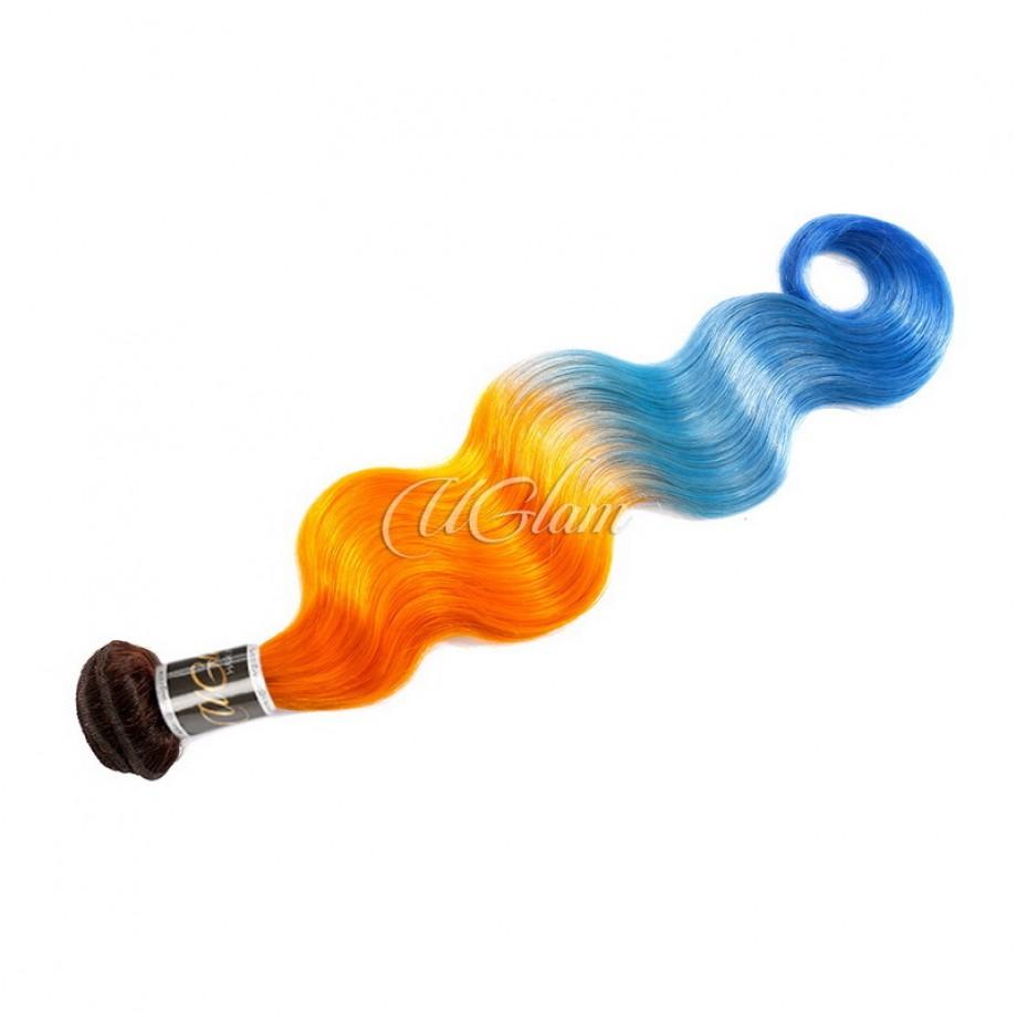 Uglam Ombre Bright Orange and Azure Blue Color Body Wave Bundles Deal